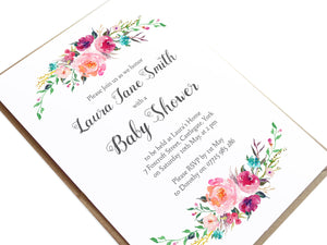 Watercolour Flower Baby Shower Invitations, Pink Floral, Pink Baby Shower, Pink Flowers, 10 Pack