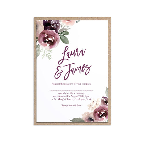 Plum Floral Wedding Invitations, Purple Wedding, Lilac, Mauve, Purple and Blush, 10 Pack