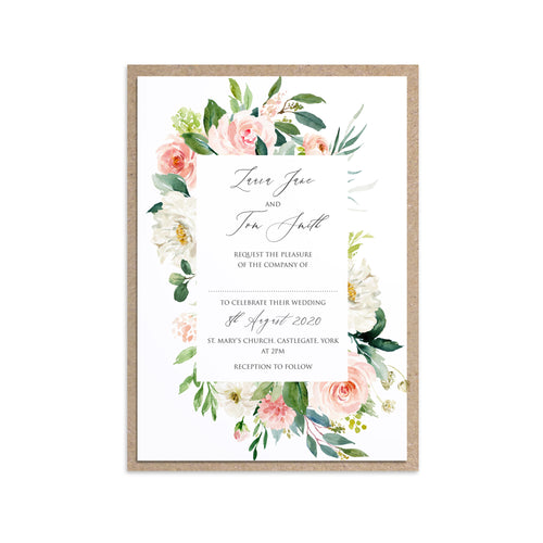 Spring Blush Wedding Invitations, Floral Frame, Blush Wedding, Pink Flowers, Blush Ivory, Botanical, Modern Invitations, 10 Pack