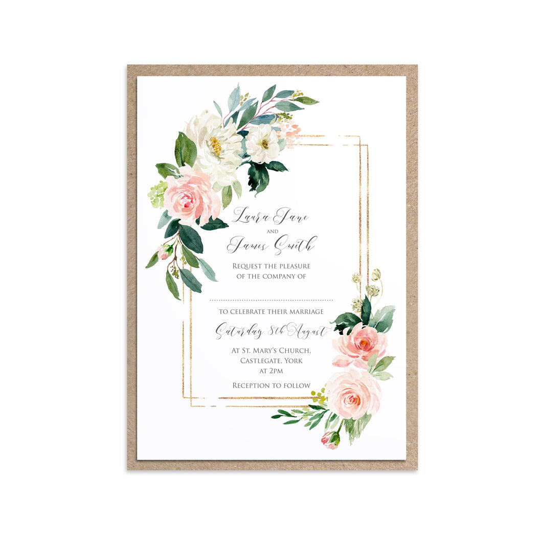 Blush and Gold Wedding Invitations, Rectangle Frame, Pink Watercolour flowers, Blush Wedding, 10 Pack