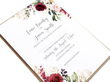 Red and Gold Wedding Invitations, Ruby Red, Burgundy, Blush, Red Floral, 10 Pack