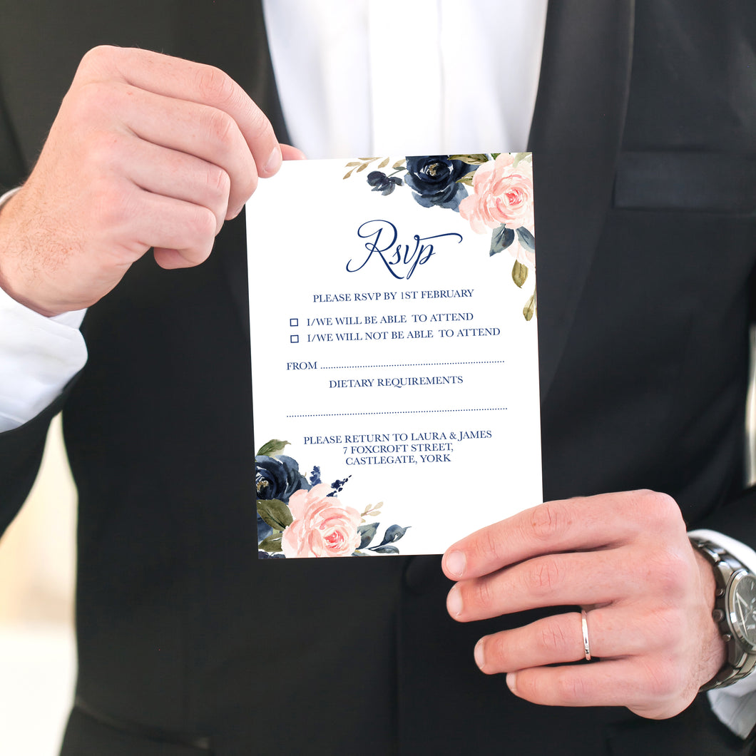 Navy and Blush RSVP Cards, Response Cards, Navy Floral, Navy Wedding, Watercolour Flowers, 10 Pack