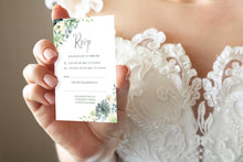 Succulent Floral RSVP Cards, Response Cards, Botanical Wedding, Mint Wedding, Eucalyptus, 10 Pack