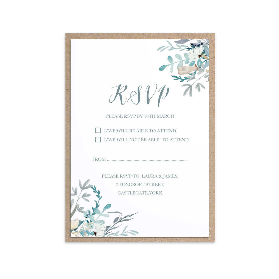 Winter Foliage RSVP Cards, Ice Blue Wedding, Winter Wedding, Light Blue, Frozen Wedding, 10 Pack