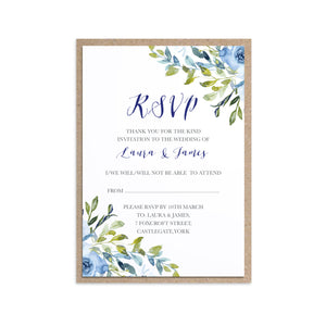 Blue Floral RSVP Cards, Blue Watercolour flowers, Baby Blue, Pastel Blue Wedding, 10 Pack