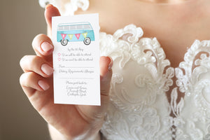 Camper RSVP Cards, Mini RSVP, Vintage Camper Van, Campervan, Van, Surfer Wedding, 10 Pack