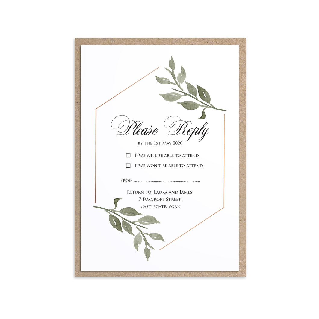 Elegant Geometric RSVP Cards, Greenery Wedding, Leaf Wedding, Foliage, 10 Pack
