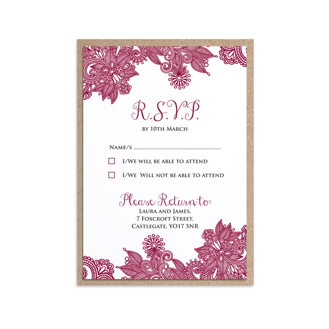 Henna RSVP Cards, Indian Wedding, Mehandi, Paisley Wedding