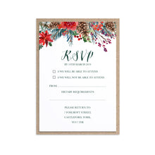 Winter Rose RSVP Cards, Christmas Wedding, Festive Wedding, Holly Wreath, Poinsettia, 10 Pack