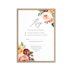 Autumn Floral RSVP Cards, Autumn Wedding, Fall Wedding, Burgundy & Orange, Peach Wedding, 10 Pack