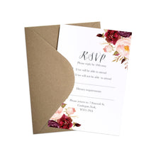 Boho Red Rose RSVP Cards, Burgundy Invite, Red Roses, Red Wedding, Boho Floral Wedding, 10 Pack