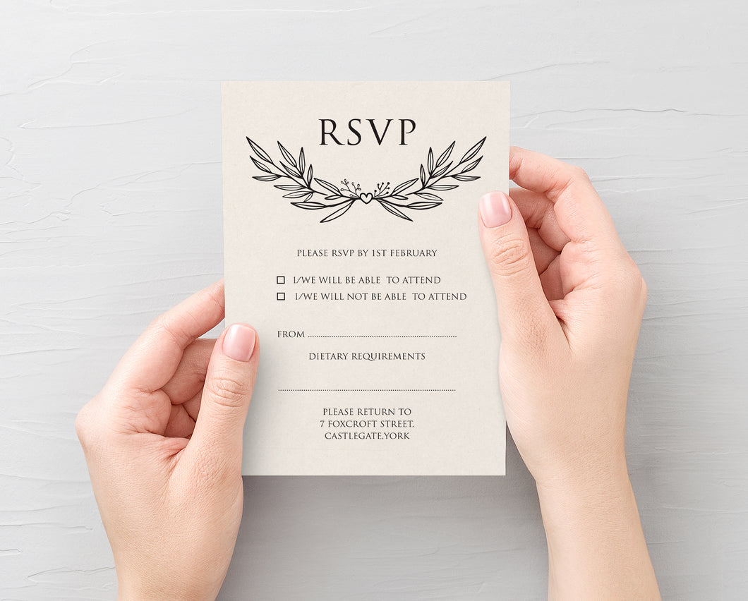 Rustic Forest RSVP Cards, Rustic Wedding, Eco Wedding, Barn Wedding, 10 Pack
