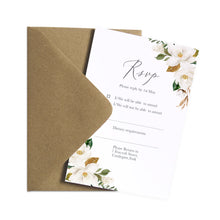Magnolia RSVP Cards, Ivory Floral, Boho Wedding, Cotton Wedding, Autumn Wedding, 10 Pack