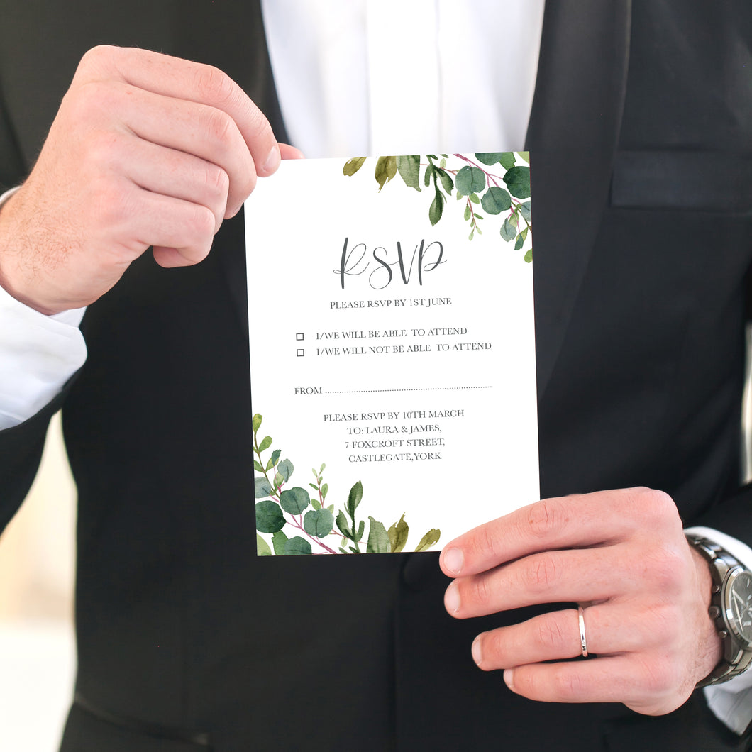 Botanical Garden RSVP Cards, Watercolour Foliage, Greenery, Eucalyptus, Botanical Wedding, 10 Pack
