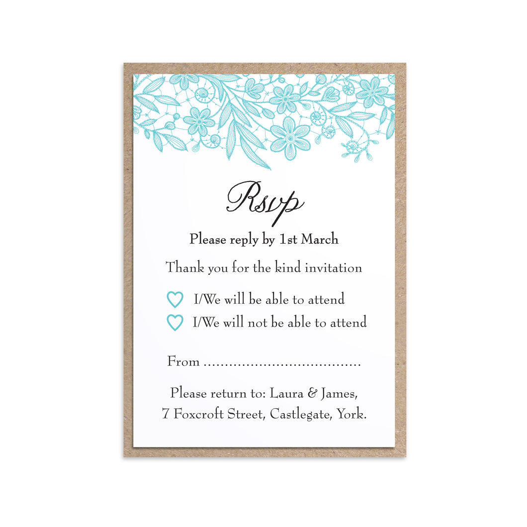 Floral Lace RSVP Cards, Wedding Lace, Lace Invitation, Rustic Wedding Invitation, Floral Wedding Invite, Barn Wedding, 10 Pack