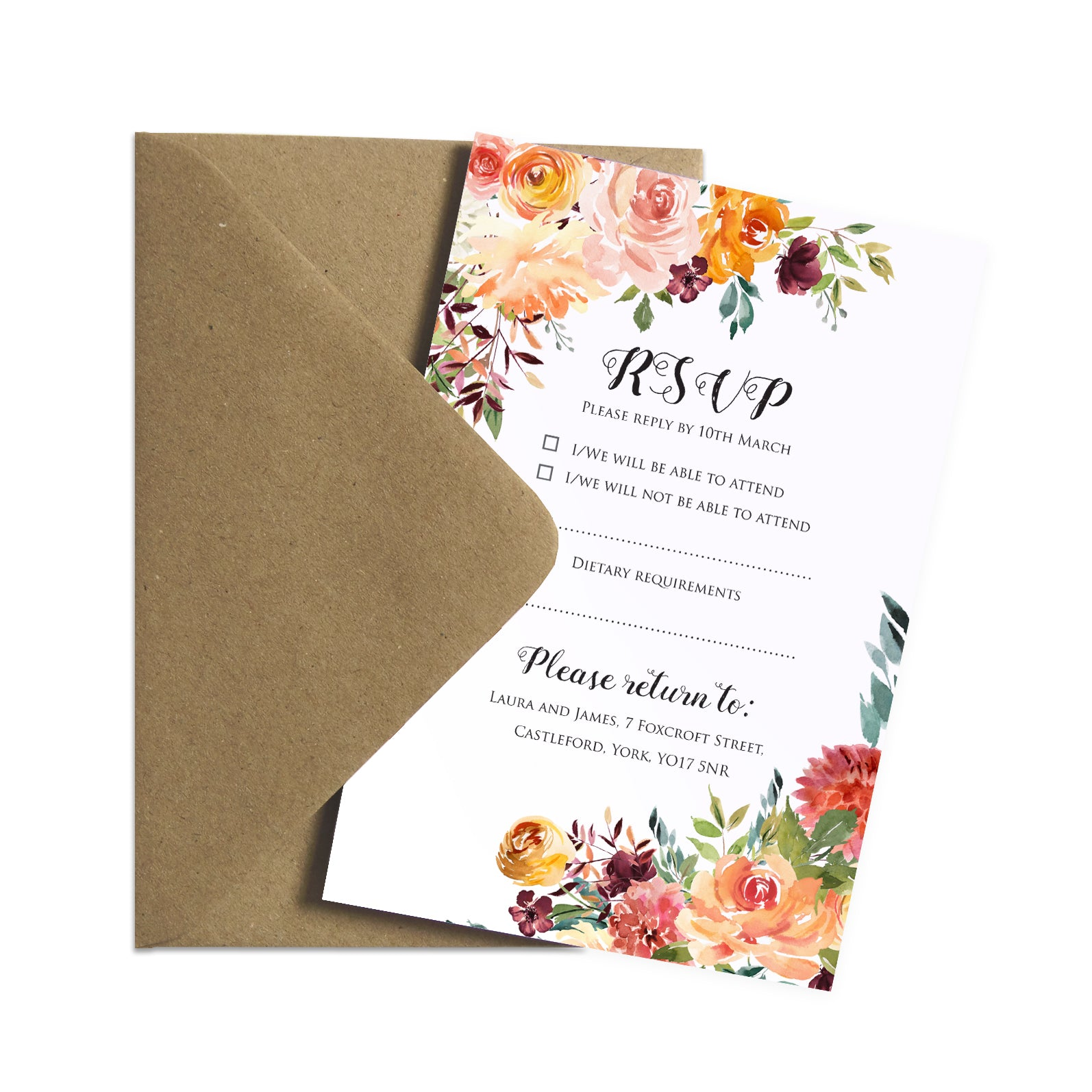 Paprika Rsvp Cards Orange Floral Wedding Invitation Autumn Wedding