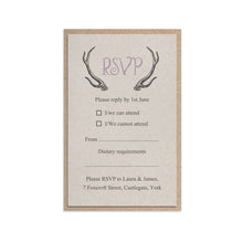 Rustic Antler RSVP Cards, Mini RSVP, Winter Wedding, Boho, Woodland Wedding, Scottish, Highland, 10 Pack