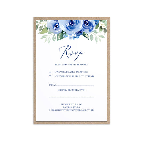 Navy Rose RSVP Cards, Watercolour Roses, Navy Wedding, Blue Wedding, 10 Pack