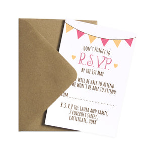 Summer Fair RSVP Cards, Bunting Invitations, Bunting Wedding, Cute Bunting, 10 Pack