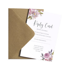 Dusty Rose RSVP Cards, Mauve, Dusky Pink, Pink Rose, Blush Wedding, 10 Pack