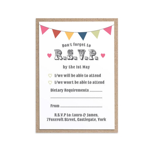 Beach Hut RSVP Cards, Beach Wedding, Seaside Wedding, Bunting, Nautical Wedding, Colourful Beach Huts, Coastal Wedding, 10 Pack