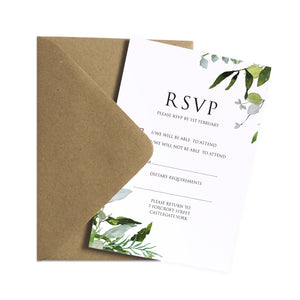 Greenery RSVP Cards, Watercolour Foliage, Greenery, Eucalyptus, Green Wreath, Botanical Wedding, 10 Pack