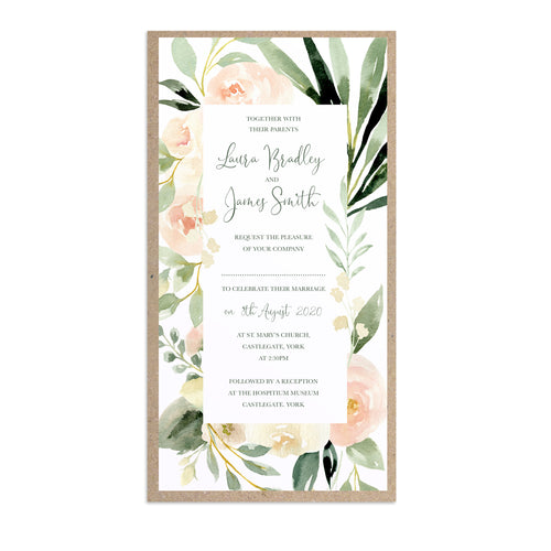 Blush Floral Wedding Invitations, Slim, Blush Wedding, Pink Flowers, Blush Ivory, Botanical, Modern Invitations, 10 Pack