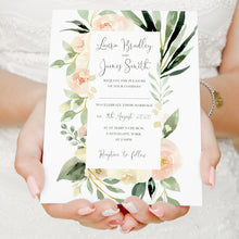 Blush Floral Wedding Invitations, Blush Wedding, Pink Flowers, Blush Ivory, Botanical, Modern Invitations, 10 Pack