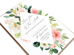 Spring Blush Wedding Invitations, Diamond, Blush Wedding, Pink Flowers, Blush Ivory, Botanical, Modern Invitations, 10 Pack