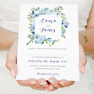 Blue Floral Wedding Invitations, Square Wreath, Blue Watercolour flowers, Baby Blue, Pastel Blue Wedding, 10 Pack
