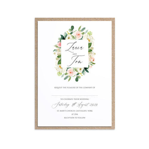 Spring Blush Wedding Invitations, Square Wreath, Blush Wedding, Pink Flowers, Blush Ivory, Botanical, Modern Invitations, 10 Pack