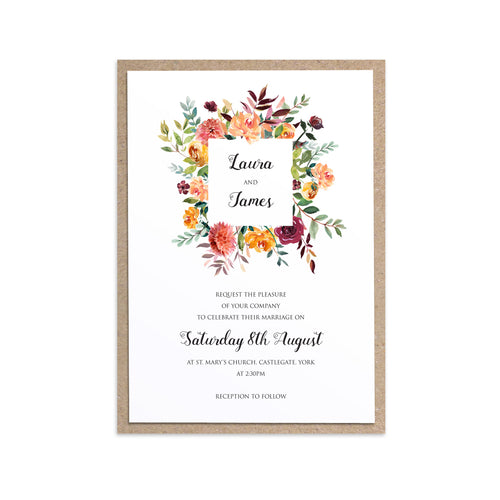 Paprika Wedding Invitation, Square Wreath, Orange Floral Wedding Invitation, Autumn Wedding, Fall Wedding, 10 Pack