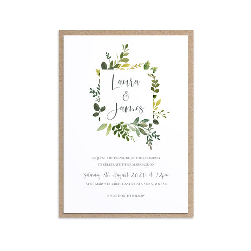Botanical Garden Wedding Invitations, Square Frame, Greenery Wedding, Leaf Wedding, Botanical Wedding, 10 Pack