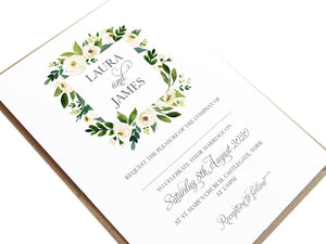 White Wedding Invitations, Square Wreath, White Floral Watercolour, White Peony, White Rose Invites, Botanical Wedding, 10 Pack