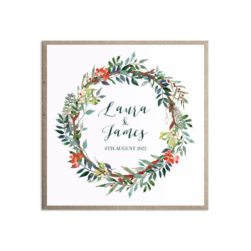 Winter Rose Wedding Invitations, Square, Christmas Wedding, Festive Wedding, Holly Wreath, Poinsettia, 10 Pack