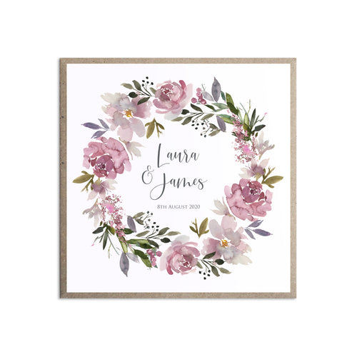 Dusty Rose Wedding Invitations, Square, Mauve, Dusky Pink, Pink Rose, Blush Wedding, 10 Pack