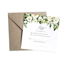 White Wedding RSVP Cards, Square, White Floral Watercolour, White Peony, White Rose Invites, Botanical Wedding, 10 Pack