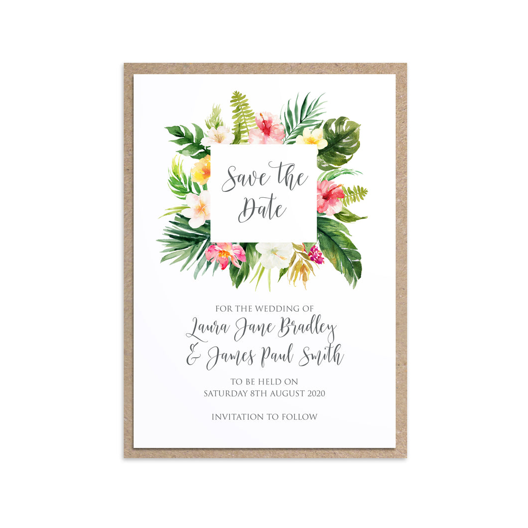 Tropical Floral Save the Date Cards, Square Wreath, Beach Wedding, Tropical Wedding, 10 Pack