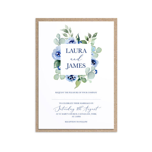 Navy Rose Wedding Invitations, Square Wreath, Watercolour roses, Navy Wedding, Blue Wedding, 10 Pack
