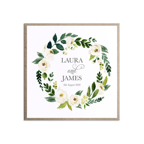 White Wedding Wedding Invitations, Square, White Floral Watercolour, White Peony, White Rose Invites, Botanical Wedding, 10 Pack