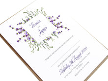 Lavender Wedding Invitations, Square Wreath, Rustic Wedding, Rosemary Herb Invitation, Purple Wedding, Rustic Wedding, Lilac Wedding, 10 Pack
