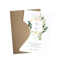Blush Floral Wedding Invitations, Square Wreath, Blush Wedding, Pink Flowers, Blush Ivory, Botanical, Modern Invitations, 10 Pack