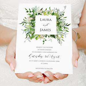 Greenery Wedding Invitations, Square Wreath, Green Wreath, Eucalyptus Wreath, Green Leaf, Botanical Wedding, Leaf Invitation, 10 Pack