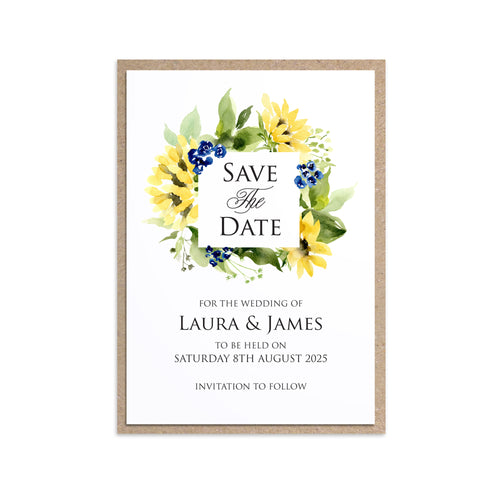 Navy Sunflower Save the Date Cards, Navy and Yellow Wedding, Sunflowers, Sunflower Invitation, 10 Pack