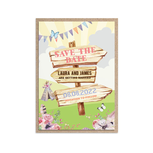 Boho Festival Ticket Save the Date Cards, Festival Wedding, Festival Invitation, Camping Wedding, Wedding Tent, Festival Ticket, Wedfest, 10 Pack