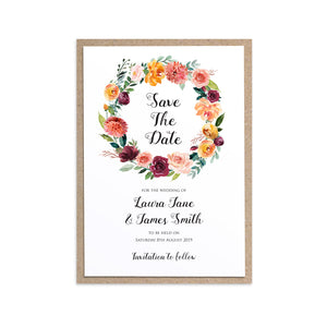 Paprika Save the Date Cards, Orange Floral Wedding Invitation, Autumn Wedding, Fall Wedding, 10 Pack