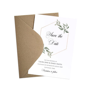 Elegant Geometric Save the Date Cards, Greenery Wedding, Leaf Wedding, Foliage, 10 Pack