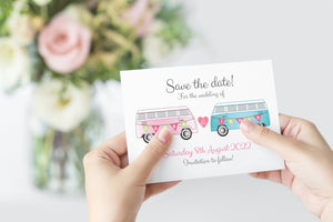 Camper Save the Date Cards, Vintage Camper Van, Campervan, Van, Surfer Wedding, 10 Pack
