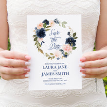 Navy and Blush Save the Date Cards, Navy Floral, Navy Wedding, Watercolour Flowers, 10 Pack