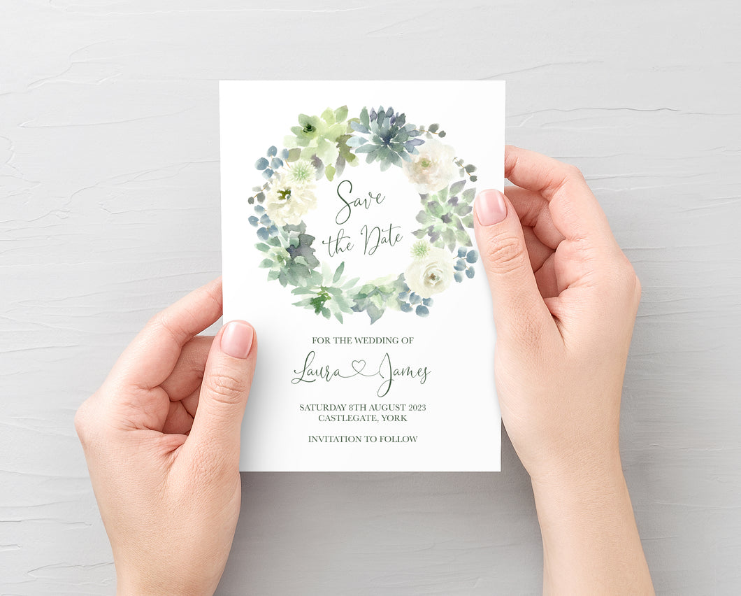Succulent Floral Save the Date Cards, Botanical Wedding, Mint Wedding, Eucalyptus, 10 Pack